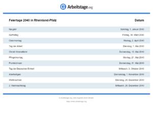 Feiertage 2040 Rheinland-Pfalz
