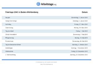 Feiertage 2043 Baden-Württemberg