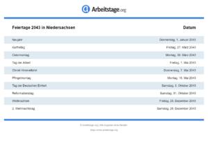 Feiertage 2043 Niedersachsen