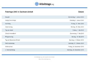 Feiertage 2043 Sachsen-Anhalt