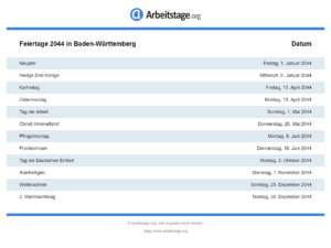 Feiertage 2044 Baden-Württemberg