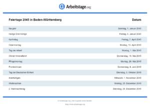 Feiertage 2045 Baden-Württemberg