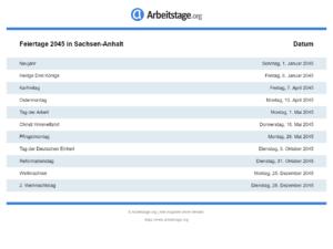 Feiertage 2045 Sachsen-Anhalt