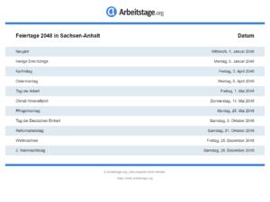 Feiertage 2048 Sachsen-Anhalt