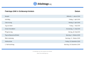 Feiertage 2048 Schleswig-Holstein