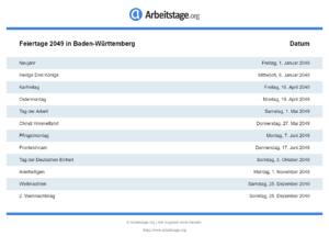 Feiertage 2049 Baden-Württemberg