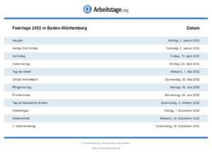 Feiertage 2052 Baden-Württemberg