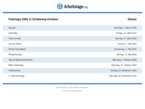 Feiertage 2062 Schleswig-Holstein