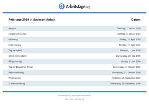 Feiertage 2069 Sachsen-Anhalt