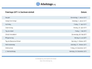 Feiertage 2071 Sachsen-Anhalt