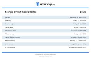 Feiertage 2071 Schleswig-Holstein