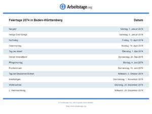 Feiertage 2074 Baden-Württemberg