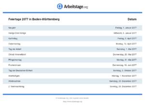 Feiertage 2077 Baden-Württemberg