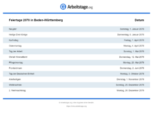 Feiertage 2078 Baden-Württemberg
