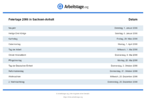 Feiertage 2086 Sachsen-Anhalt