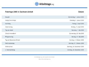 Feiertage 2088 Sachsen-Anhalt