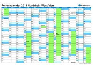 Ferienkalender 2019 Nordrhein-Westfalen