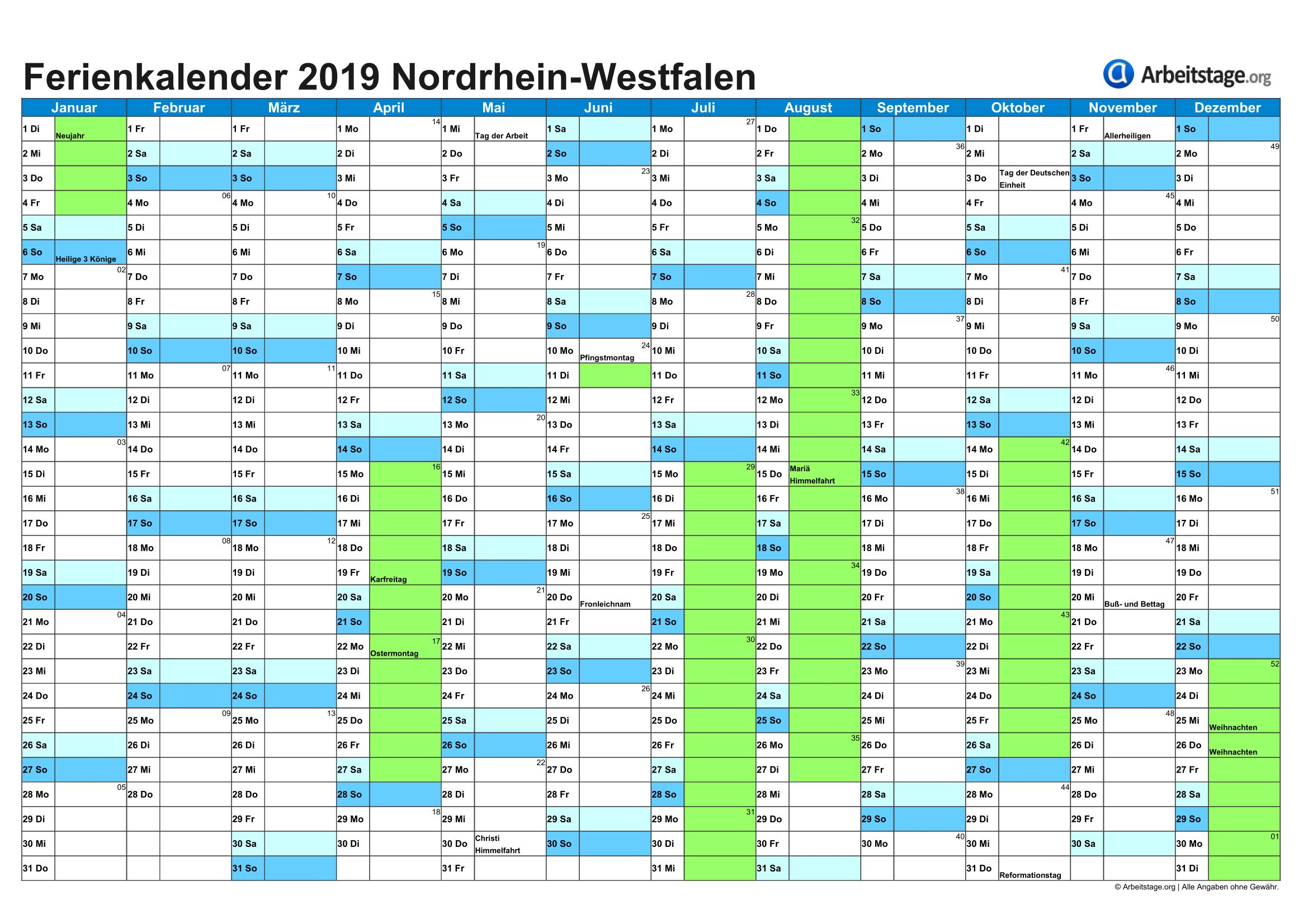 Ferien in Nordrhein Westfalen (NRW) 2019, 2020 + Ferienkalender