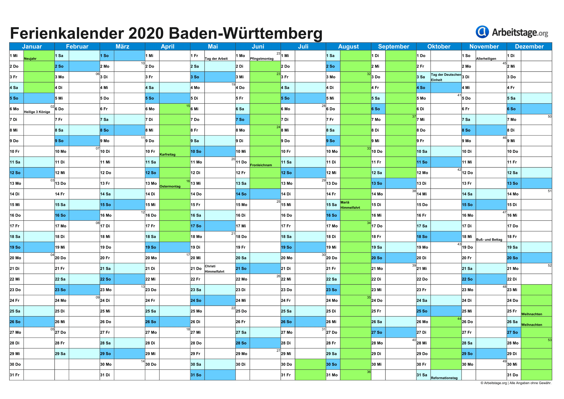 Feriendichte Kalender 2020
