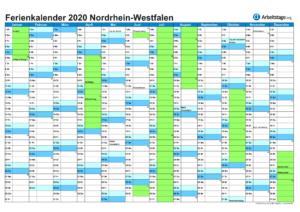 Ferienkalender Nordrhein-Westfalen 2020
