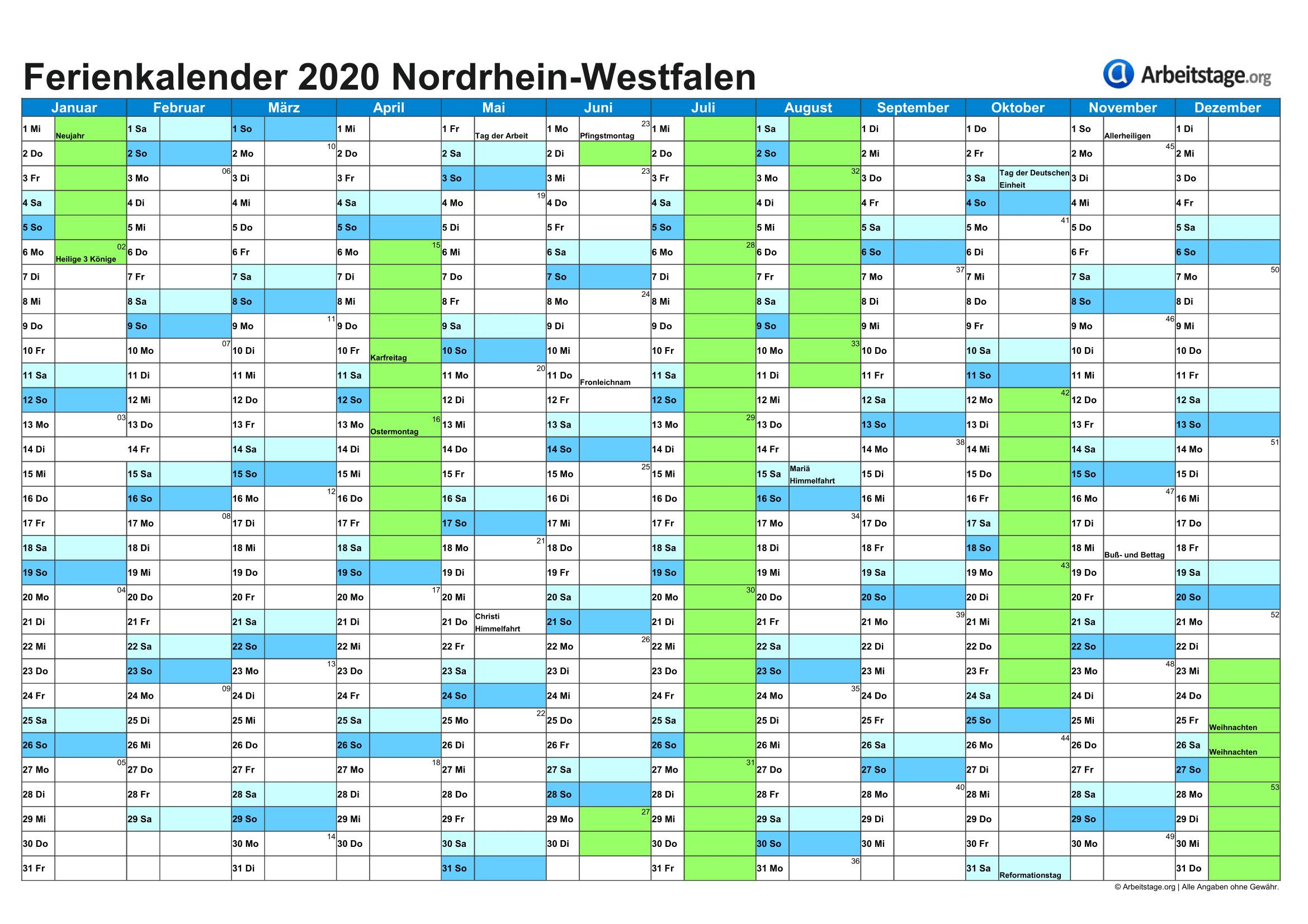 Weihnachten 2019 Nrw.Ferien Nordrhein Westfalen 2019 2020 Ferienkalender Mit Schulferien