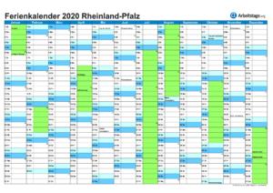 Ferienkalender 2020 Rheinland-Pfalz