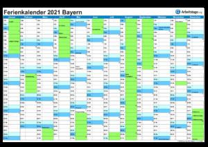 Ferienkalender Bayern 2021