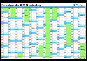 Ferienkalender 2021 Brandenburg